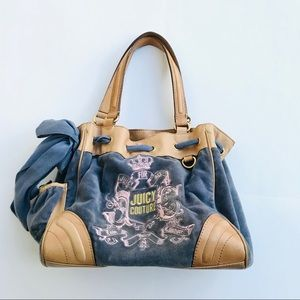 Denim Velour & Tan Leather Juicy Couture  Bag